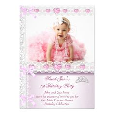 Photo Card Birthday Invitation First 1st Birthday Party Girls Princess Pink Photo Card