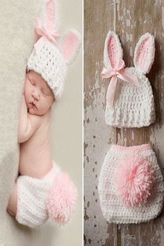 Bunny crochet hat with ears and diaper cover with tail Bunny Crochet, Crochet Bebe, Crochet For Kids, Knit Crochet, Baby Girl Crochet, Easter Crochet, Crochet Christmas, Crochet Summer, Crochet Mandala
