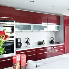 Red Kitchen Cabinet Soldier  Pinterest  Red Kitchen Kitchens Glamorous Kitchen Colour Designs Ideas Decorating Design