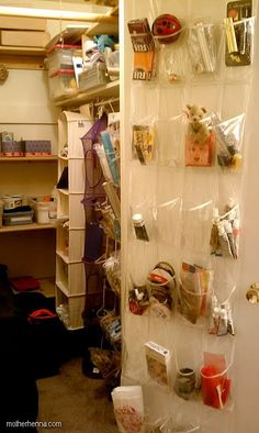 hanging #craft room storage; I did use this idea in the past it works well. Sewing roomis now above bonus room.
