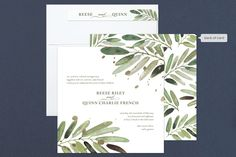 """""""Al Fresco"""" - Rustic, Destination Foil-pressed Wedding Invitations in Snow by Haley Warner."""