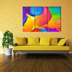 RAIN QUEEN Hand Painted Colorful Graffiti Painting Wall Art For Kids Room Décor Huge Size No Frame 3pcs