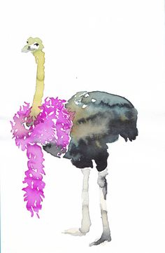 OSTRICH with FEATHERS Original watercolor painting by Mydrops
