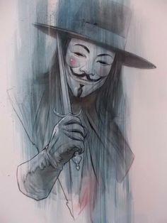 V for Vendetta commission, watercolour and pencil by Ben Oliver V For Vendetta Tattoo, V Pour Vendetta, Ben Oliver, The Fifth Of November, Beste Comics, Illustrator, Villainous Cartoon, Guy Fawkes, Desenho Tattoo