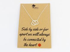 Silver Heart Necklace  Connected Heart Long by LittleWrenUK