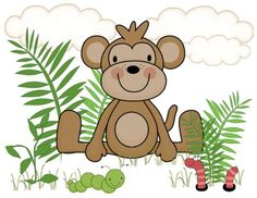 "Jungle Monkey Wall Mural for baby nursery or kids room decor - measures 16.5"" Tall and 21"" Wide #decampstudios  http://stores.ebay.com/DeCamp-Studios"