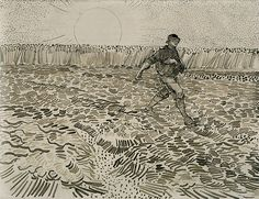 Vincent van Gogh, The Sower, 1888, Pencil, pen, reed pen and brown ink, on wove paper, © Van Gogh Museum, Amsterdam, (Vincent van Gogh Foundation).