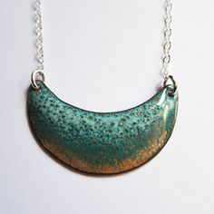 Crescent moon enamel necklace Enameled copper by OxArtJewelry