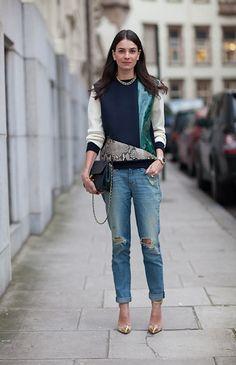 Leila Yavari rocking python // denim chic style