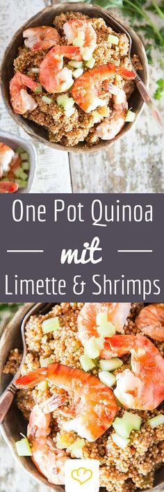 """""""Shrimps sind Früchte des Meeres. Du kannst sie am Spieß braten, backen, braten, auf den Grill tun, sortieren … ."""" Und sie zu einer köstlichen Quinoa Bowl verwandeln. Hätte Forrest Gump das gesunde Getreide gekannt, hätte es diese bunte Schüssel sicherlich öfters gegeben."""