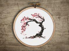 bonsai cross stitch pattern asian cherry blossom tree by futska