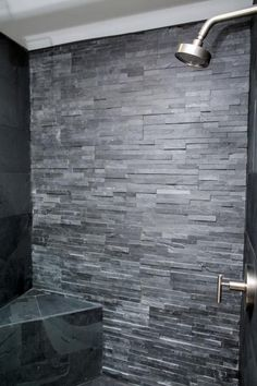 A Fixer Upper for a Most Eligible Bachelor Chip and Joanna Gaines help a Waco native, moving back home from New York, find and fix up a lakefront home to create a bachelor pad with a masculine feel as well as a touch of class. Slate Shower, Rock Shower, Dream Shower, Baby Shower, Master Bedroom Bathroom, Master Shower, Fixer Upper, Stone Bathroom, Design Blog