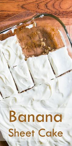 Easy banana sheet cake! Super banana flavor. With cream cheese frosting, perfect for a large gathering. On SimplyRecipes.com