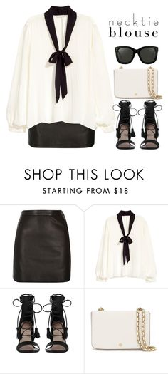 """""""Necktie Blouse"""" by bmaroso ❤ liked on Polyvore featuring River Island, Zimmermann, Tory Burch and Linda Farrow"""