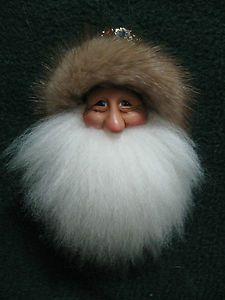60 OOAK Handmade Santa Ornament Unique Original Polymer Clay Face Real Fur   eBay