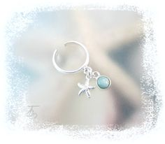 Starry Starfish-Larimar-Dangle Charm .925 Sterling Silver Adjustable Toe Ring-Size 3 to 4.5