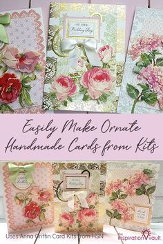 Ornate Handmade Cards from Kits using Anna Griffin's Watercolor Floral Decoupage Card Kits Diy Craft Projects, Craft Tutorials, Fun Crafts, Crafts For Kids, Paper Crafts, Project Ideas, Greeting Card Store, Linen Stitch, Card Making Kits