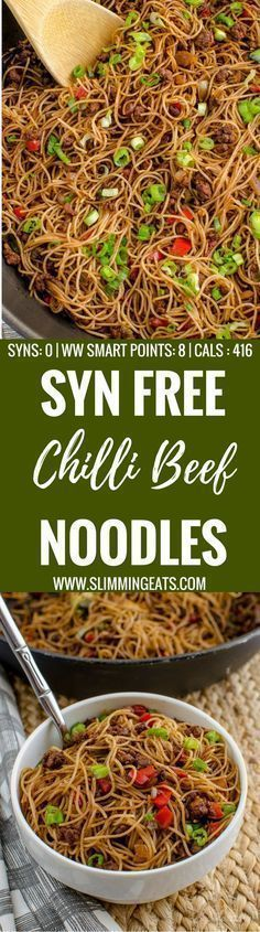 Slimming Eats Syn Free Chilli Beef Noodles - gluten free, dairy free, slimming world and weight watchers friendly astuce recette minceur girl world world recipes world snacks Slimming World Dinners, Slimming World Recipes Syn Free, Slimming Eats, Slimming Word, Asian Recipes, Beef Recipes, Cooking Recipes, Recipies, Chinese Recipes