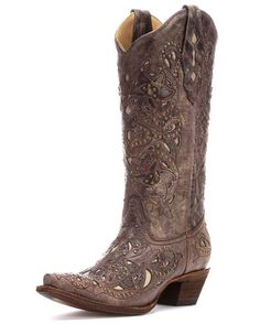 Loveee | Corral Women's Brown Crater Bone Inlay & Studs Boot - A1098