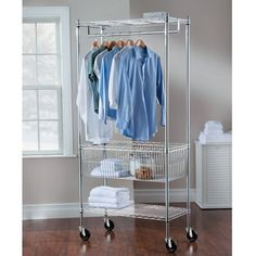 Amazon.com - Grey Modern Mobile Steel Laundry Station | Contemporary Sturdy Rolling Cart with Two Adjustable Spacious Shelves and Removable Hanging bars for Air Drying | Storage and Organizer for your Clothes, Towels, other Garments and Sports Equipment -
