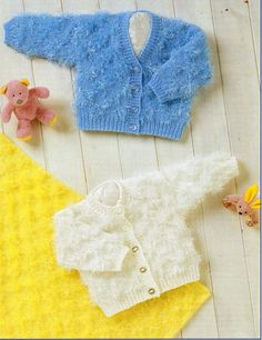 Baby cardigan knitting pattern double knit 2 patterns easy knit size 14-18