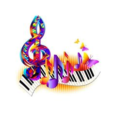 Colorful Treble Clef, Music Notes With Piano Keyboard And Butterfly. Stock Vector - Illustration of multicolor, musical: 101772704 notes Music Painting, Music Artwork, Music Notes Art, Music Images, Music Pictures, Musik Wallpaper, Free Printable Sheet Music, Butterfly Music, Music Symbols