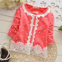 Spring and Autumn baby girls sweet cardigan jacket Baby Outfits, Baby Girl Dresses Diy, Girls Fall Dresses, Baby Girl Frocks, Baby Girl Dress Patterns, Frocks For Girls, Baby Girl Romper, Baby Dress, Kids Outfits