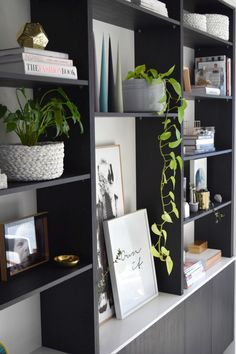 Side view of the in-built black timber bookcase we styled for the #shelfie #stylecuratorchallenge. Create the stylish home you've always wanted by joining us month after month to style one small pocket of the home. This month it's all about creating a stylish shelf and we give you all the tips and tricks you need here >>