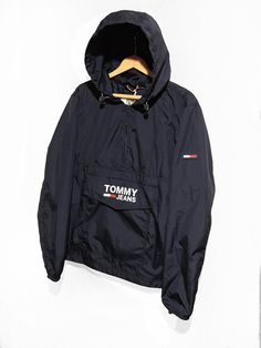 6c9b24596 TOMMY HILFIGER windbreaker Jacket Half Zip Pullover Packable Tommy Jeans  Retro White Blue Size M Tommy