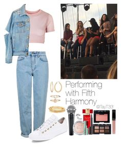 """""""Performing with Fifth Harmony"""" by tayt33 ❤ liked on Polyvore featuring Topshop, Fragments, Kate Spade, Estée Lauder, NARS Cosmetics, Converse, Trish McEvoy, Too Faced Cosmetics and Accessorize"""
