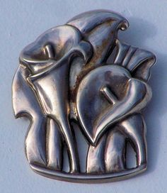 Signed McClelland Barclay Sterling Silver Morning Glorry Pin