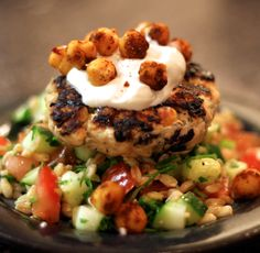 Mediterranean Turkey Burger with Farro Tabbouleh, Tzatziki, and Spiced Chickpeas   There are a lot of components here, but the ...