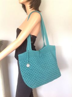 The Sak Crochet Bag Purse Large Teal Green Designer Fashion Accessories Women  #TheSak #Hobo