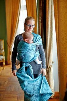 Baby Wrap, Jacquard Weave (100% cotton) - Galleons Navy Blue & Turquoise - size S - LennyLamb.com