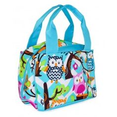 Blue Chevron Owl Town Print Insulated Lunch Tote Bag