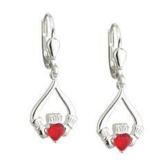 """Sterling Silver Red Crystal Claddagh Earrings. Claddagh Valentine Earrings in Sterling Silver with a beautiful crystal heart at their center. """"With these hands I give you my heart"""" - The virtues of Love, Loyalty and Friendship shown vividly in this elegant range of jewelry. Made by Solvar jewelry in Dublin, Ireland. Hallmarked at the Assay Office in Dublin Castle. Measures approx. .9 inch tall"""