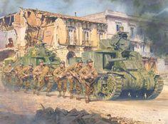 7 de Mayo de 1943, captura de Bizerta por la 9ª División de Infantería apoyada por tanques M-3, en obra de Steve Noon.