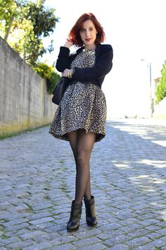 Leopard print dress, black tights and boots