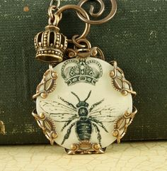 Queen Bee Necklace Crown Charm Brass Filigree Vintage Style Altered Art