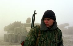 A Russian soldier in Chechnya, November 1999.