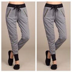 Jogger pants Jogger with drawstrings snd zipper detailed .cotton/polyester/spandex Pants