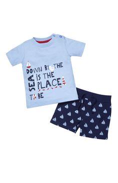 Primark - Conj. t-shirt By The Sea e calções azul