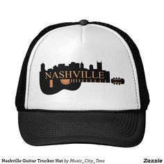 #Nashville Guitar Trucker Hat This impressive Nashville design with the skyline and a guitar make this #trucker's hat unique. http://www.zazzle.com/nashville_guitar_trucker_hat-148407031809935413