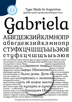 Gabriela Cyrillic- Free Google Web Font by Eduardo Tunni, via Behance