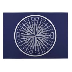 Kavka Designs Blue and White Nautical Compass Indoor/Outdoor Floor Mat (5' x 7')