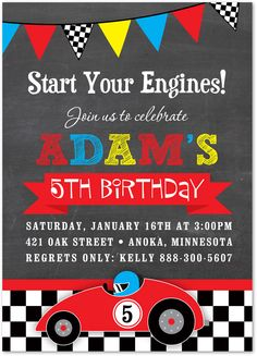 Boy Birthday Invitations Red Race Car Chalkboard Party 35822
