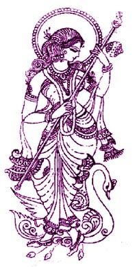 Sarasvati (Shakti, Benzaiten). Image origin unknown; have had this on my PC for years. (TinEye search doesn't return anything.)