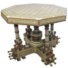 Incredible Large Syrian Mother of Pearl and Bone Octagonal Dining or Center Table | From a unique collection of antique and modern center tables at https://www.1stdibs.com/furniture/tables/center-tables/