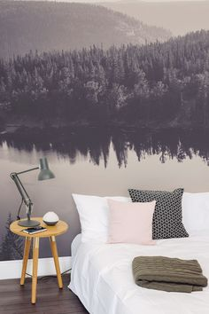 Drift away looking at this dreamy mountain landscape with this beautiful wallpaper mural. A slight pinkish hue makes this the perfect design for bedroom interiors looking for a subtle feminine touch. (Diy Decorations For Bedroom) Dream Bedroom, Home Bedroom, Bedroom Decor, Bedroom Interiors, Bedroom Ideas, Bedrooms, My New Room, My Room, Wall Murals