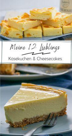 12 leckere Käsekuchen in einer Sammlung. Vom New York Cheesecake über den Quarkkäsekuchen und Schokomuffins mit Frischkäsefüllung ist alles dabei. #cheesecake #käsekuchen #kuchenrezepte